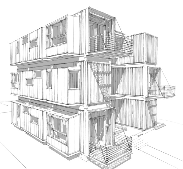 Modern house plans by gregory la vardera architect ibu proposal progress sketch - Container home architect ...