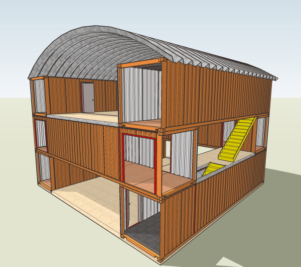 Container Home Design Ideas: 3 Story Shipping Container Building