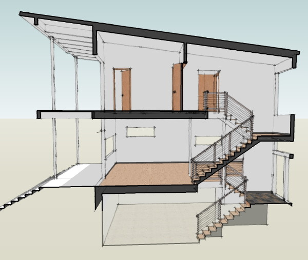 Modern House Plans by Gregory La Vardera Architect A section view