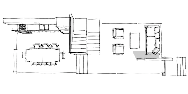 Amazing Row house concept transverse stair plan